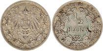 Allemagne 1/2 Mark 1914A - Aigle couronné, argent