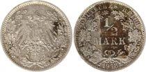 Allemagne 1/2 Mark 1918F - Aigle couronné, argent