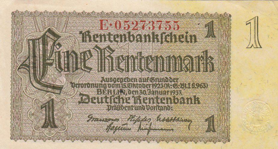 Allemagne 1 Rentenmark 1937 Série E - TTB - P.173b
