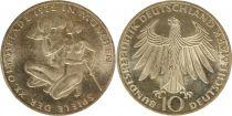 Allemagne 10 Mark 1972G - Aigle, Athlètes, argent