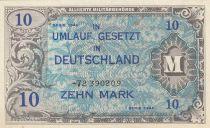 Allemagne 10 Mark Impr. américaine - 1944 8 digit 72390209 - sans F
