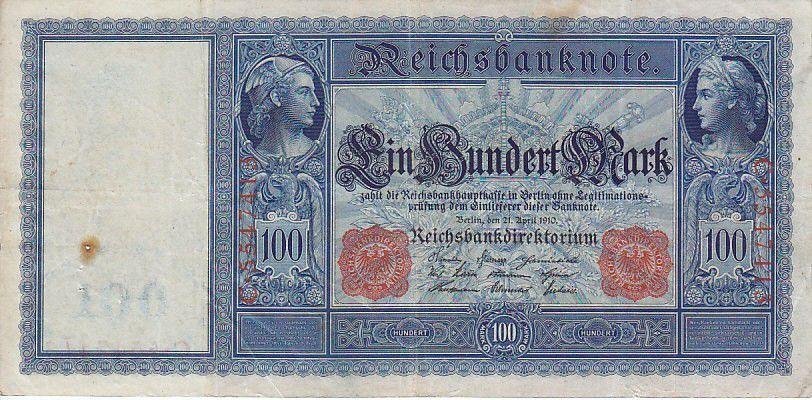Allemagne 100 Mark Mercure et Cérès, numérotation rouge - 1910