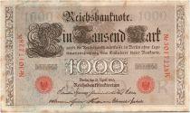 Allemagne 1000 Mark Brun numérotation rouge - 1910 - 7 chiffres