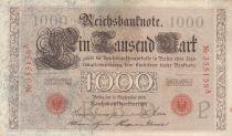 Allemagne 1000 Mark numérotation rouge - 1909 - 6 chiffres - TTB - P.39