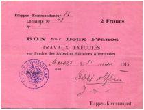 Allemagne 2 Francs Bon - Quartier général Allemand