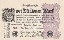 Allemagne 2 Millionen Mark  Noir et Lilas - 1923