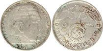 Allemagne 2 Reichsmark 1938B - Aigle, Hindenburg, argent