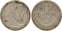 Allemagne 2 Reichsmark 1938D - Aigle, Hindenburg, argent