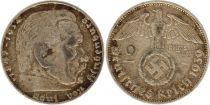 Allemagne 2 Reichsmark 1939F - Aigle, Hindenburg, argent