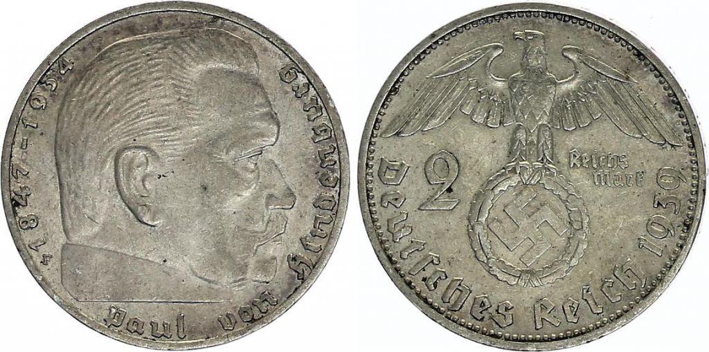 Allemagne 2 Reichsmark Swastika - Hindenburg 1936-1939 Argent