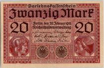 Allemagne 20 Mark - Minerve et Mercure - 20/02/1918