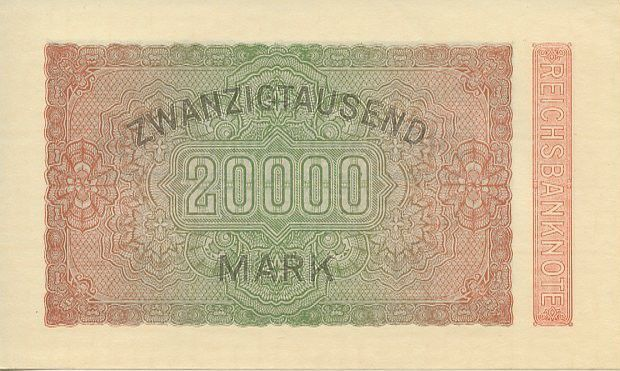 Allemagne 20000 Mark Bleu, noir rose vert