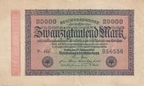 Allemagne 20000 Mark Noir rose vert - Filigrane lignes ondulées - 1923