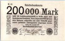 Allemagne 200000 Mark  Noir et Gris - 1923