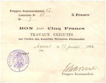 Allemagne 5 Francs Bon - Quartier général Allemand