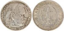 Allemagne 5 Mark 1935A - Aigle, Hindenburg, argent