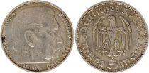 Allemagne 5 Mark 1936D - Aigle, Hindenburg, argent