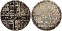 Allemagne 5 Mark 1975F - Aigle, Protection des monuments, argent