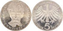 Allemagne 5 Mark 1975G - Aigle, Albert Schweitzer, argent