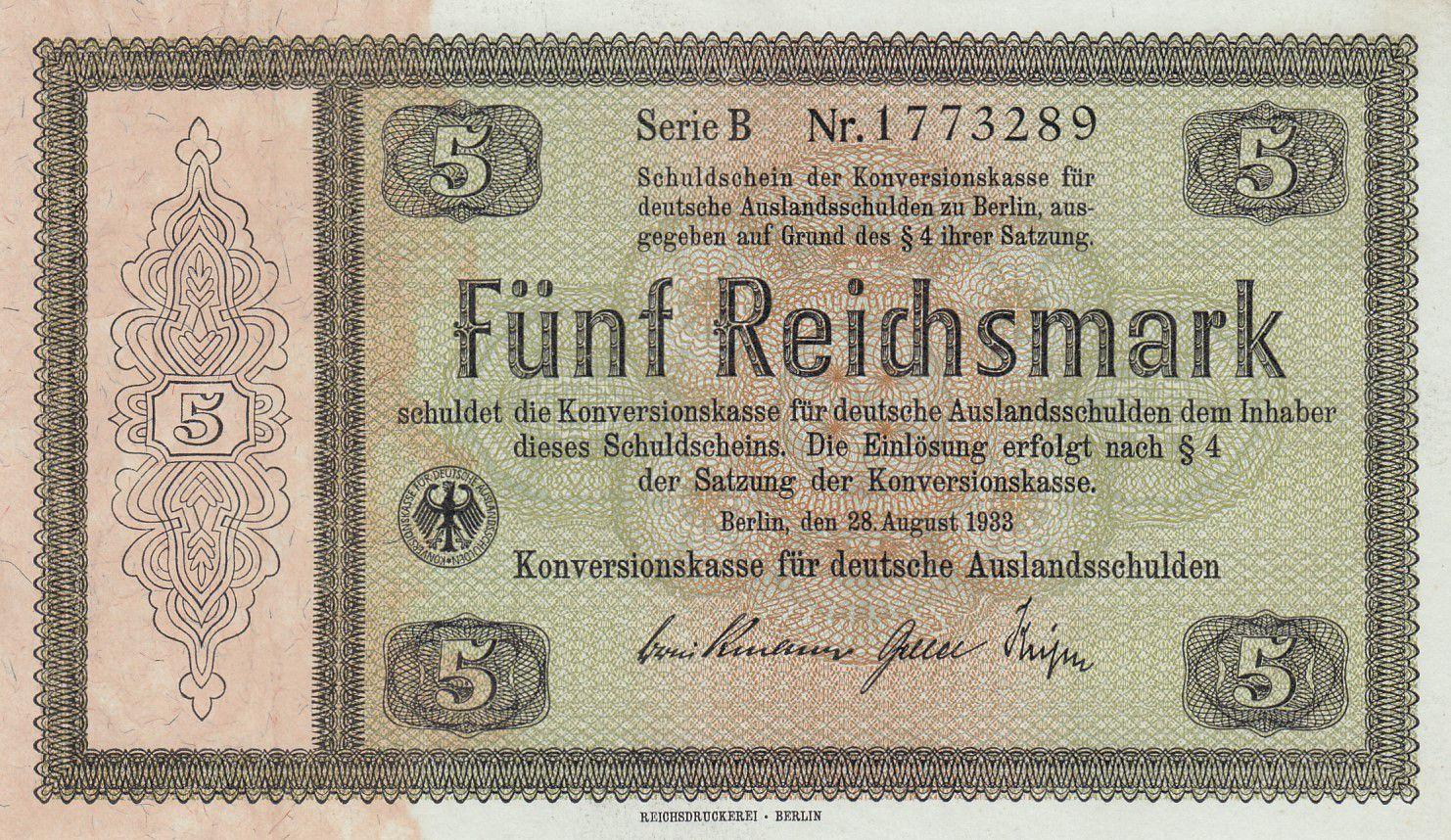 Allemagne 5 Reichsmark - 1933 Série B - P.199 - Neuf