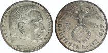 Allemagne 5 Reichsmark Swastika - Hindenburg 1936-1939 Argent