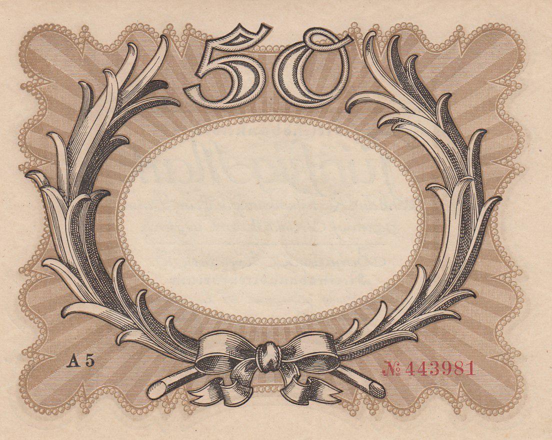 Allemagne 50 Mark Brun-olive, gris \'\'Egg Note\'\' - 1918 - p.Neuf - P.65