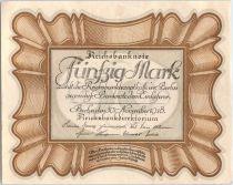 Allemagne 50 Mark Brun-olive, gris \'\'Egg Note\'\' - 1918