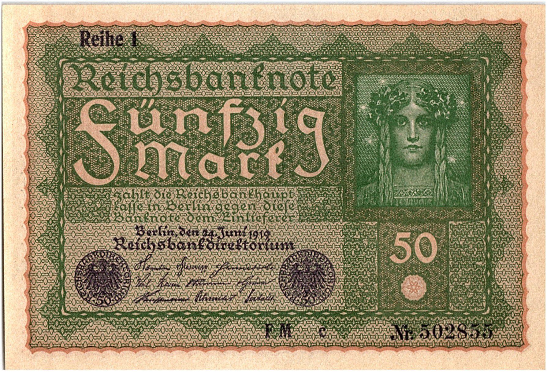 Allemagne 50 Mark Portrait de femme - 1919 - Reihe 1 Série FM c - p.NEUF - P.66