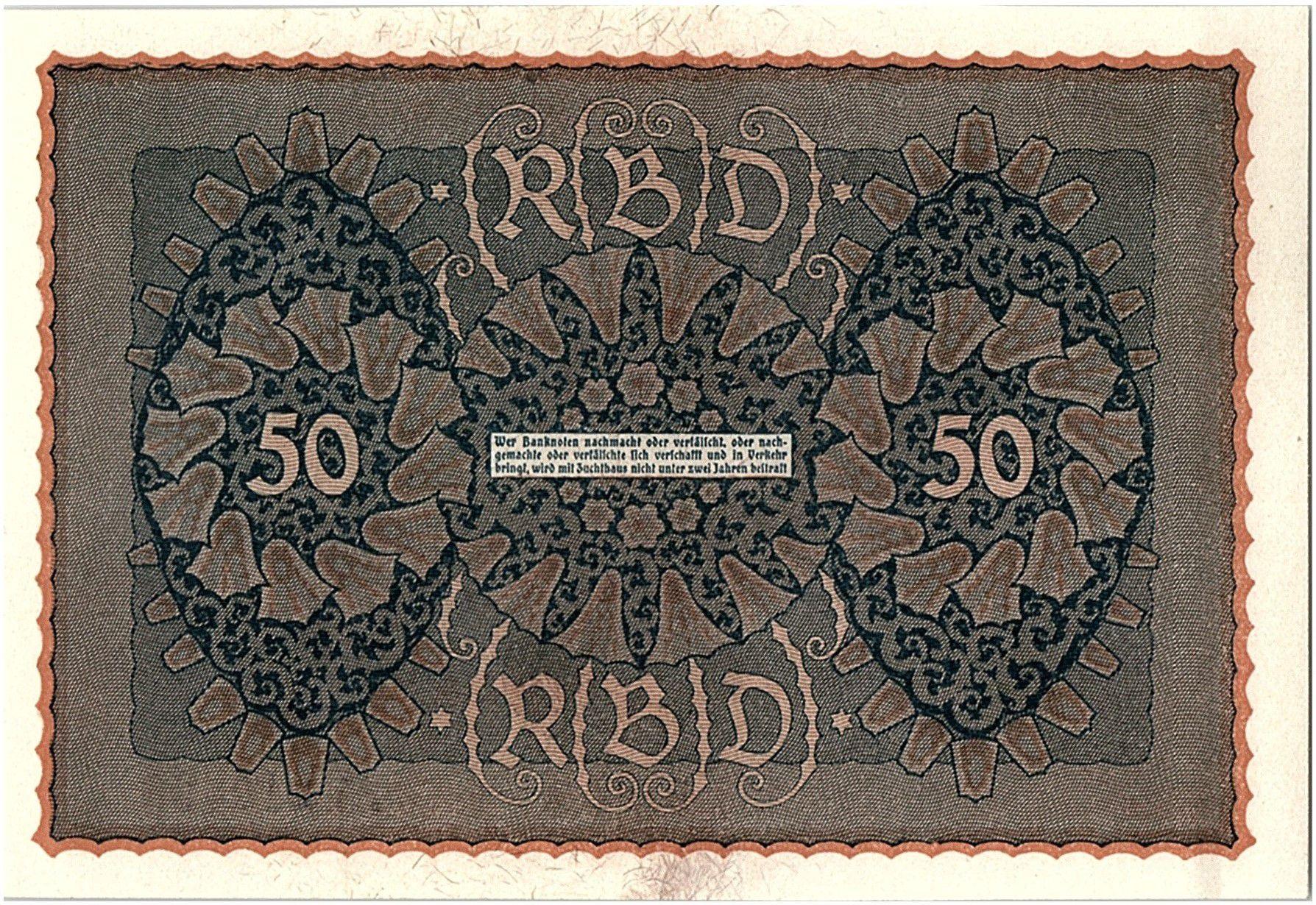 Allemagne 50 Mark Portrait de femme - 1919 - Reihe 1 Série RO a - p.NEUF - P.66