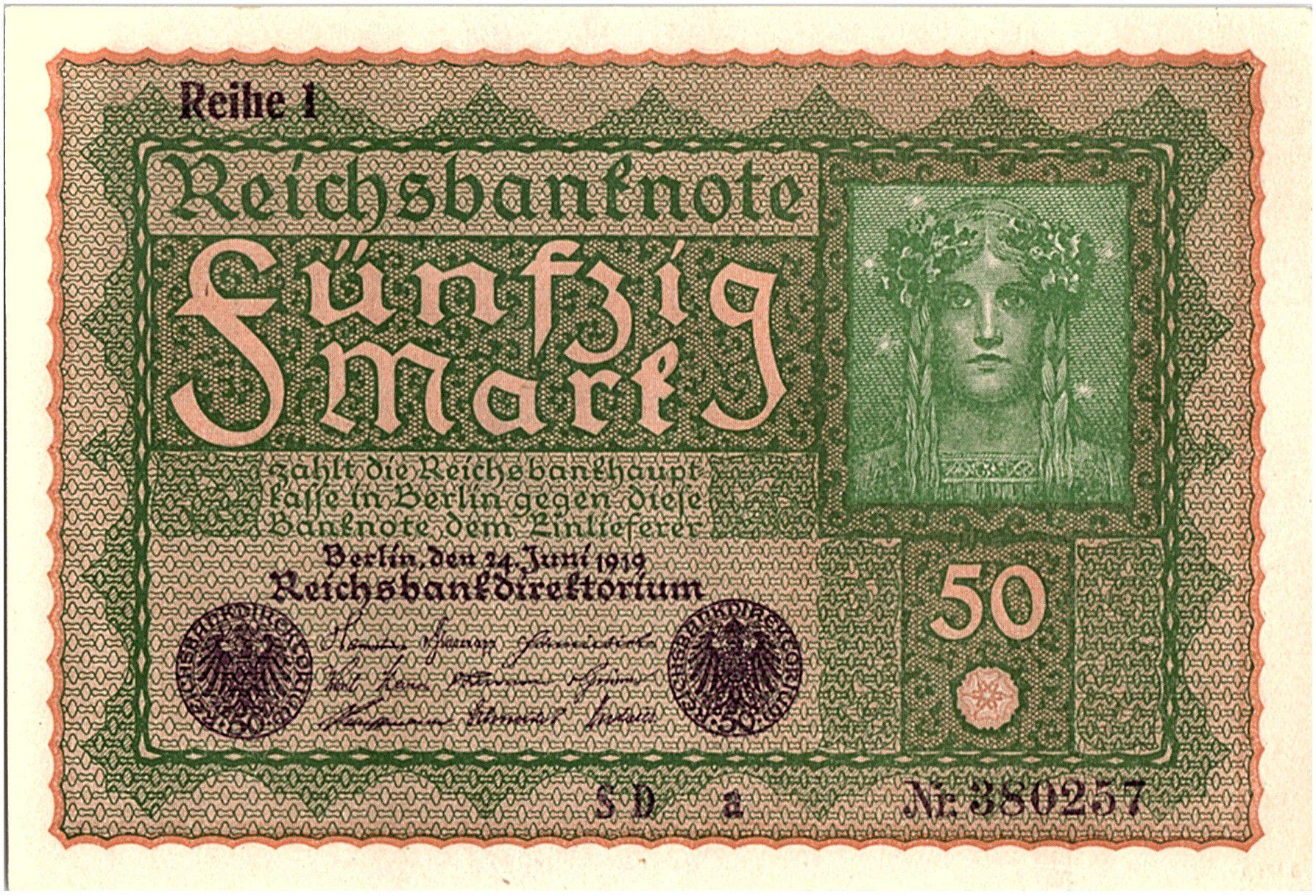 Allemagne 50 Mark Portrait de femme - 1919 - Reihe 1 Série SD a - p.NEUF - P.66