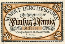 Allemagne 50 Pfennig, Berchtesgaden - notgeld 13-08-1920 - NEUF