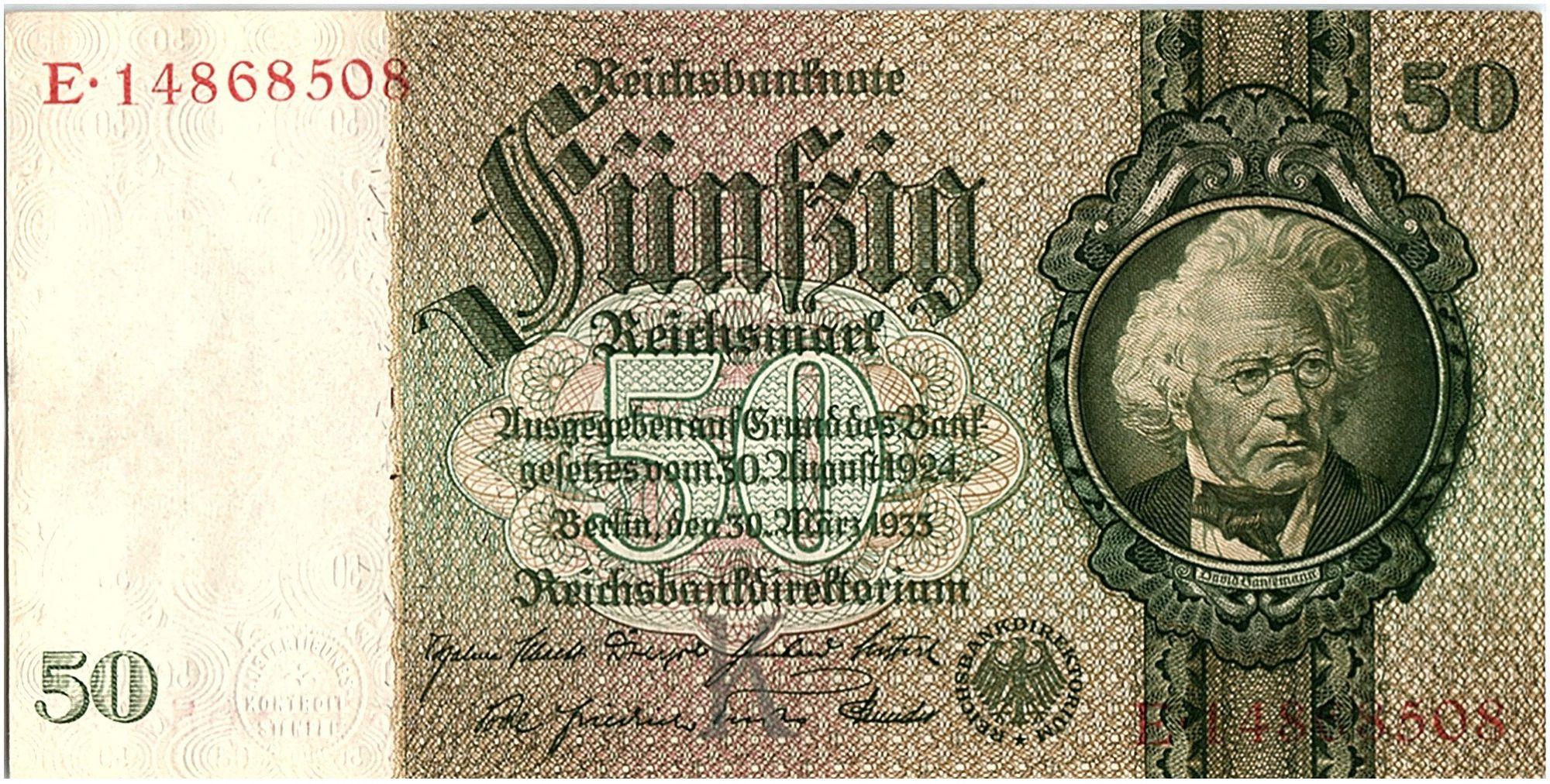 Allemagne 50 Reichsmark 1933 - Série E - XF - P.182