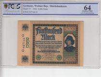 Allemagne 5000 Mark Spinelli - 1922 - PCGS 64OPQ