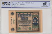 Allemagne 5000 Mark Spinelli - 1922 - PCGS 65OPQ