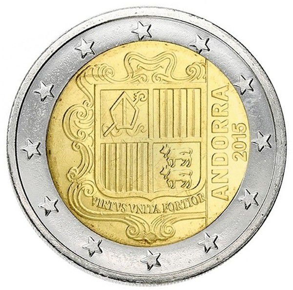 coin andorra 2 euros arms of andorra 2015. Black Bedroom Furniture Sets. Home Design Ideas