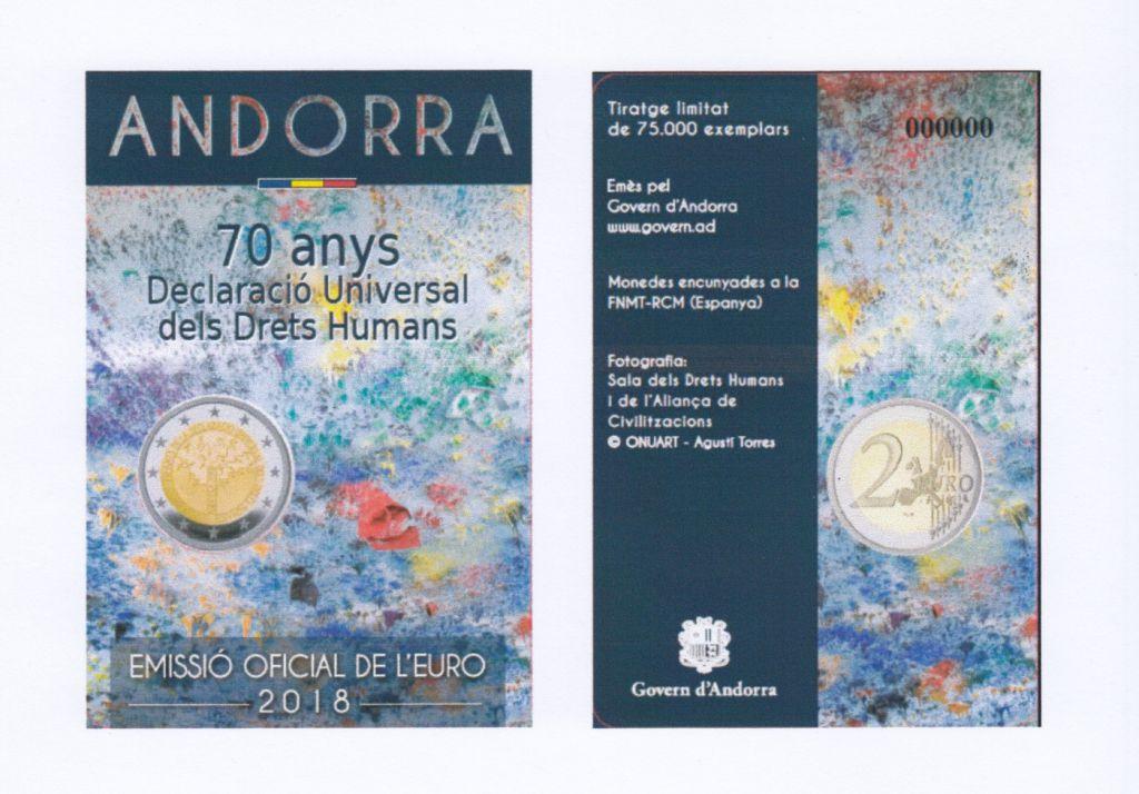 Andorre 2 Euros, Droits Homme - 2018 Coincard - LIV. 4-12-2018