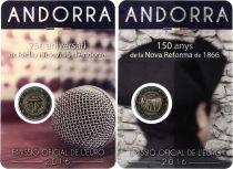 Andorre 2 Euros, Lot des 2 x 2 Euros 2016 TV + Réforme - 2016 Coincard