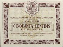 Andorre 50 centims de Pesseta - 1936