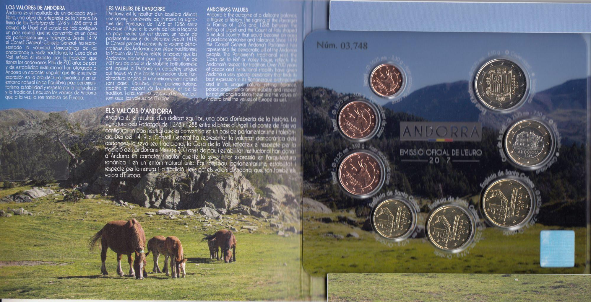 Andorre Coffret BU Andorra 2017 -  8 pièces