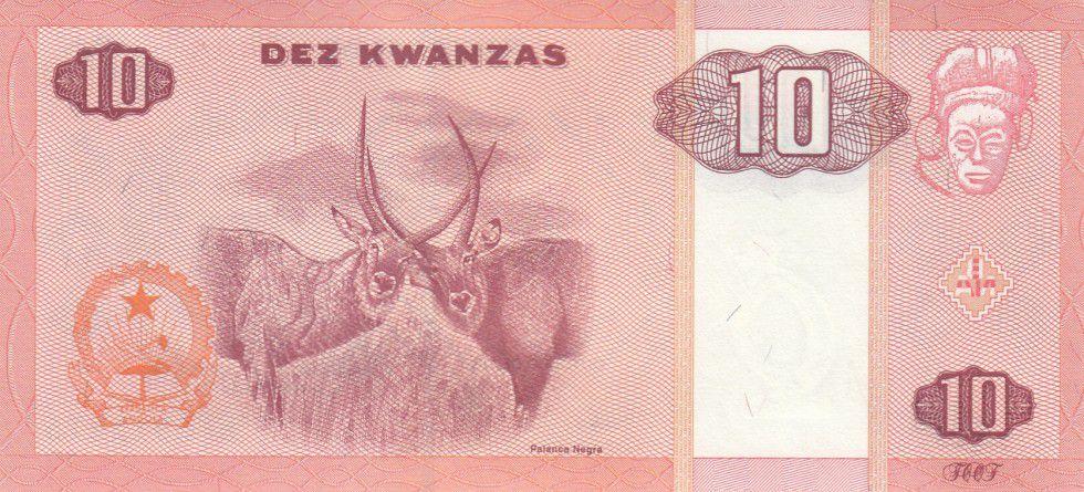 Angola 10 Kwanzas Dos Santos - Neto - Antilopes - 1995
