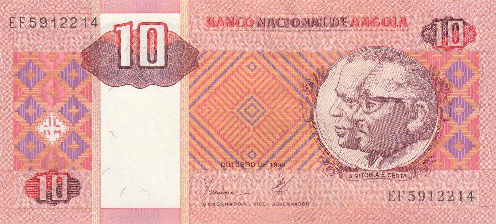 Angola 10 Kwanzas Dos Santos, Neto - Antelopes - 1995