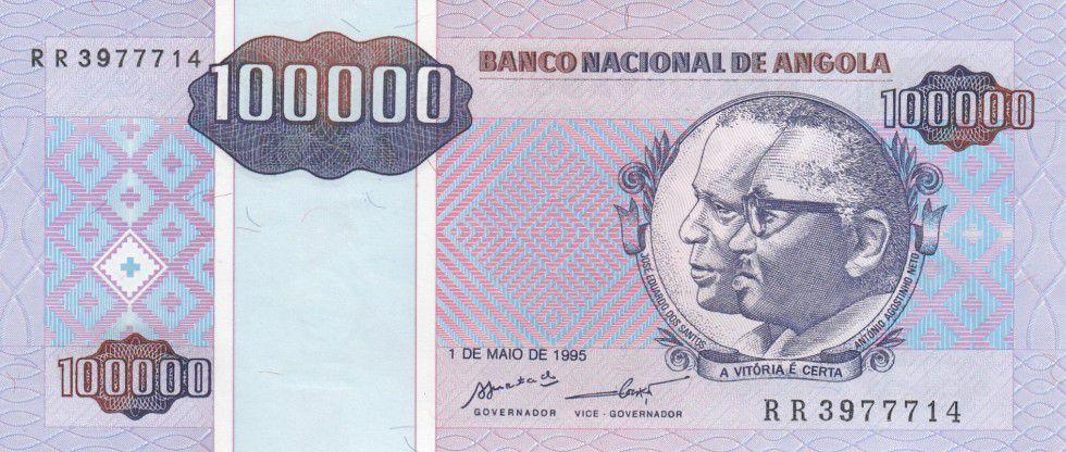 Angola 100000 Kwanzas Reajustados Reajustados, Dos Santos, Neto - 1995