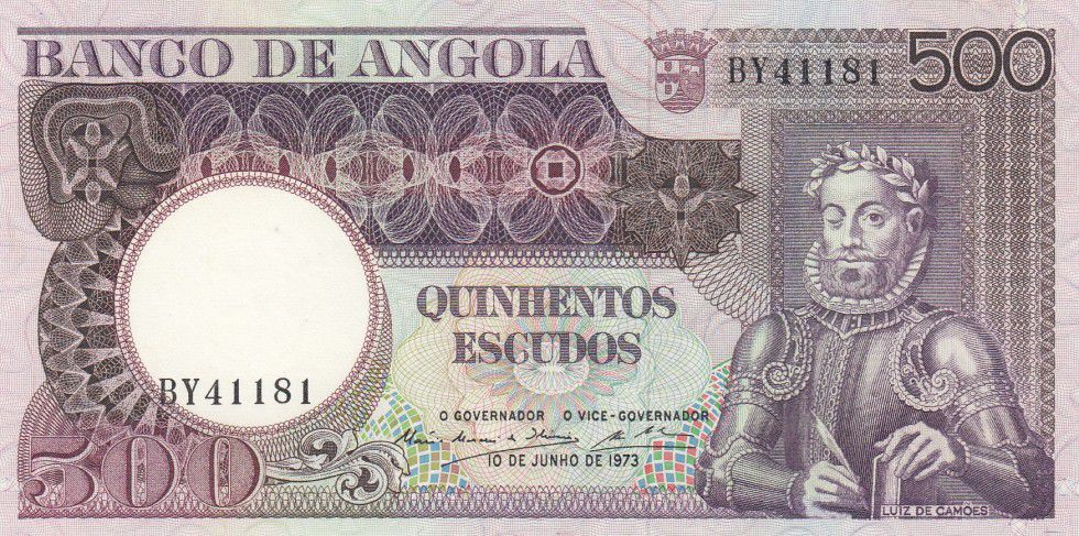 Angola 500 Escudos L. de Camoes - Rochers - 1973