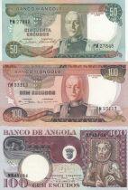 Angola Série de 3 billets Angolais - 50 à 100 Escudos 1972-1973