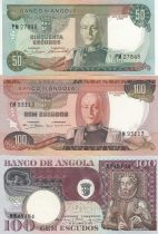 Angola Set of 3 banknotes from Angola - 50 to 100 escudos 1972-1973