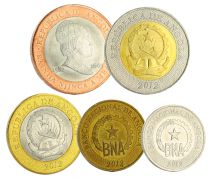 Angola Set of 5 coins 50 centimos - 1 to 20 Kwanzas 2012 to 2014 - AU