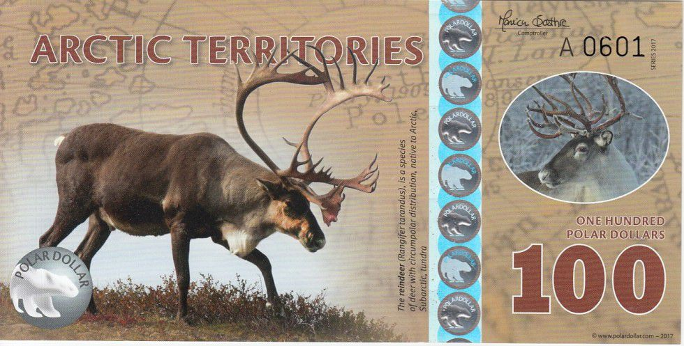 Antarctica and Arctic 100 Polar dollars, Reindeer - 2017