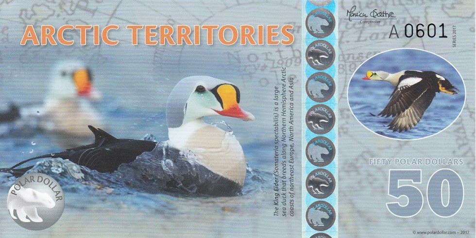 Antarctica and Arctic 50 Polar dollars, King Eider - 2017