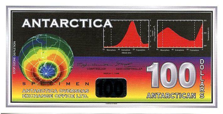 Antarctique et Arctique 100 Dollars, billet fantaisie Planète - Satellite - 1996