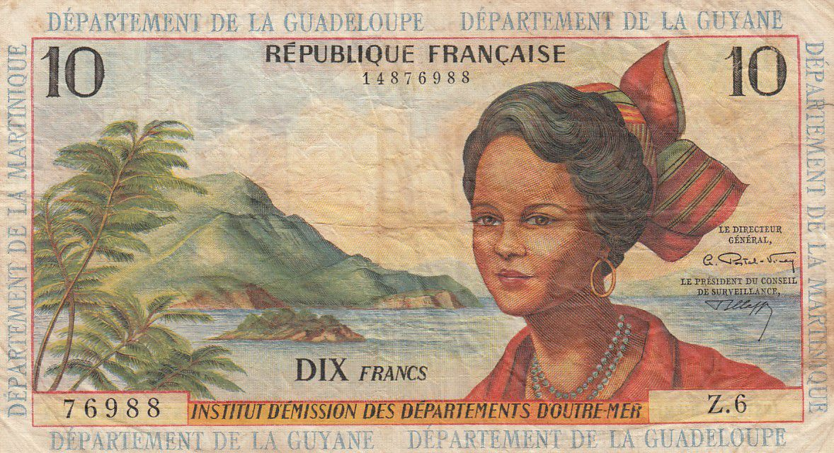Antilles Françaises 10 Francs Jeune Antillaise - 1964 - Série Z.6- TB+ - P.8b